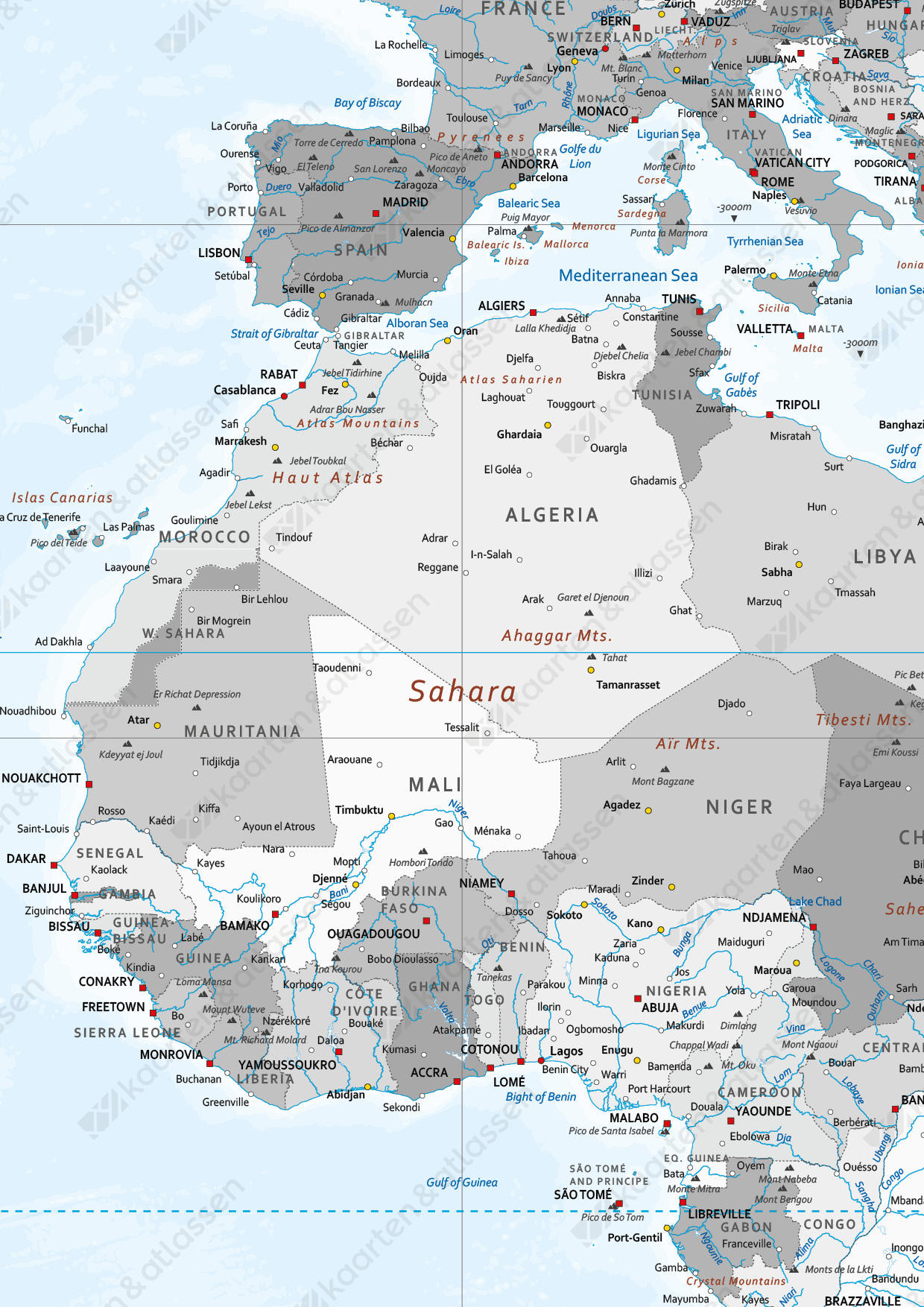 Zeer grote wereldkaart