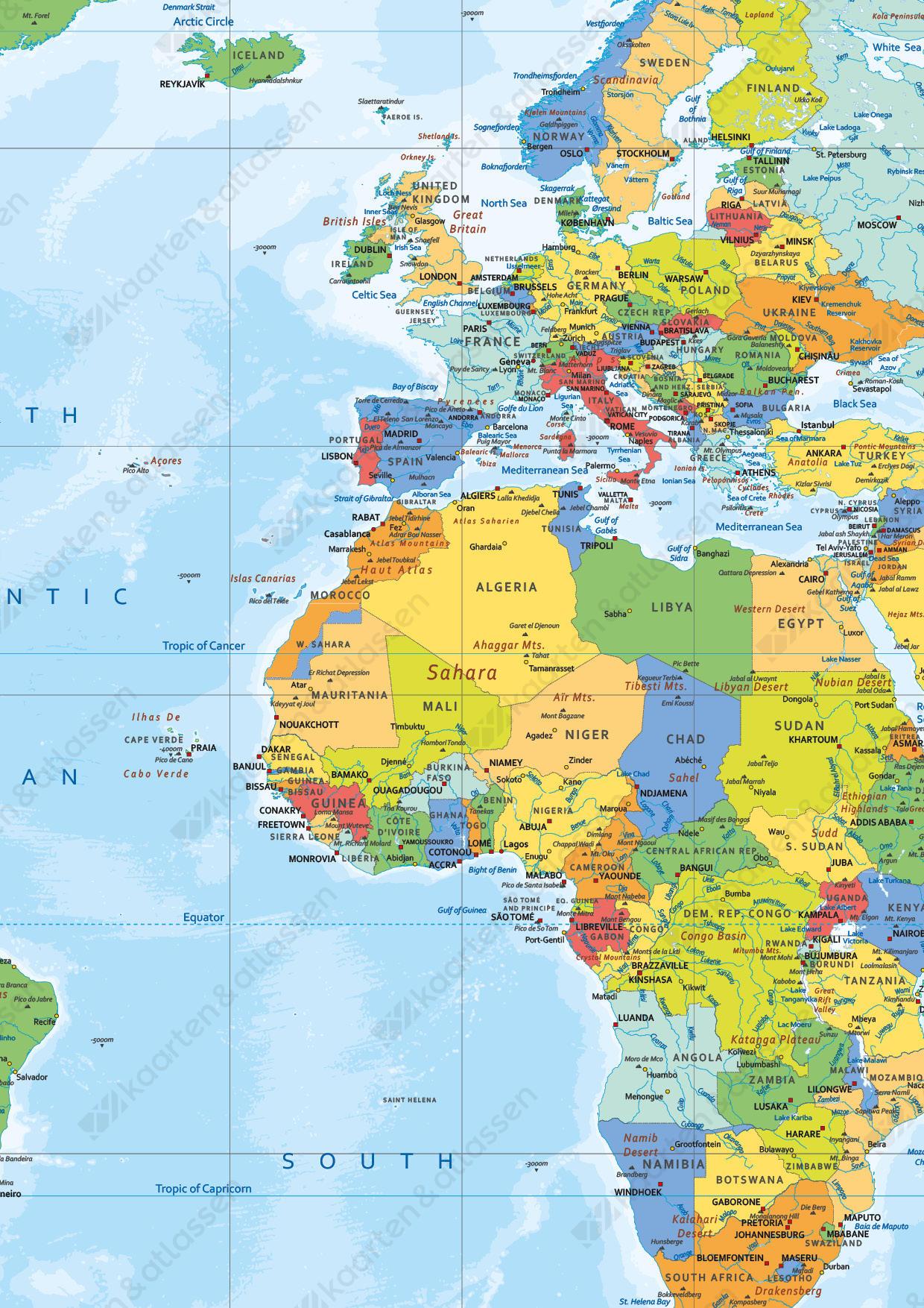 Wereldkaart small en medium staatkundig heldere kleuren