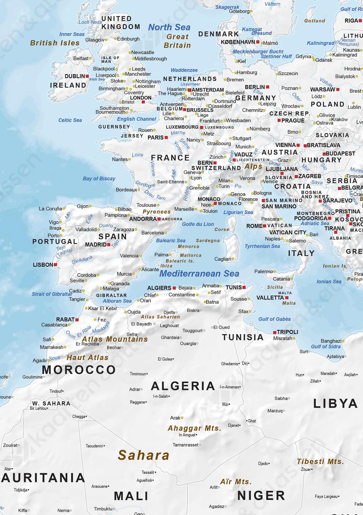 Wereldkaart zonder kleur