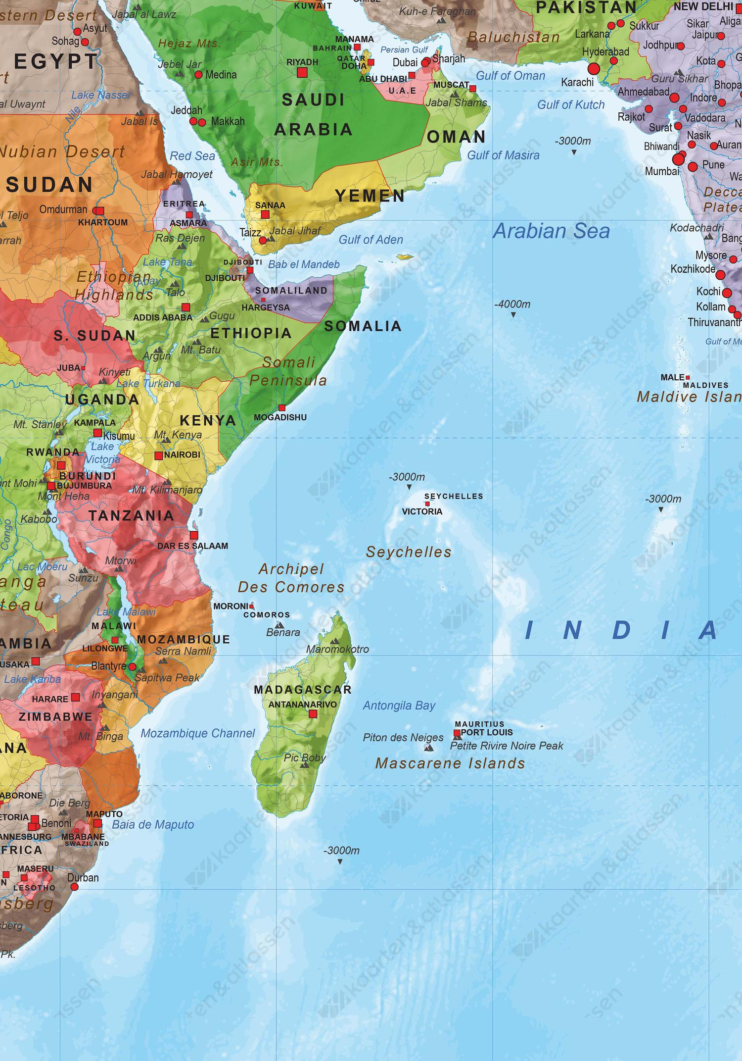 Staatkundige wereldkaart met veel details
