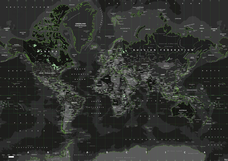 Digitale Wereldkaart Toxic Green