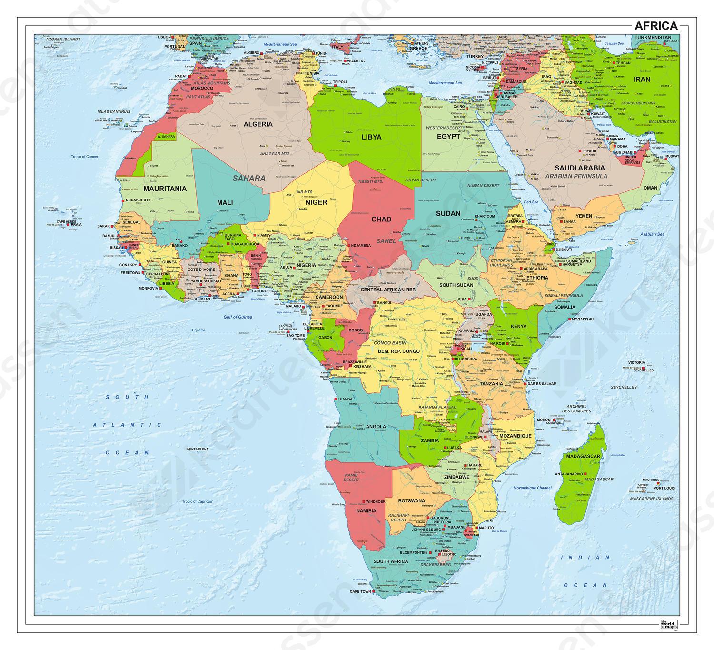 Digitale kaart Afrika staatkundig 1282