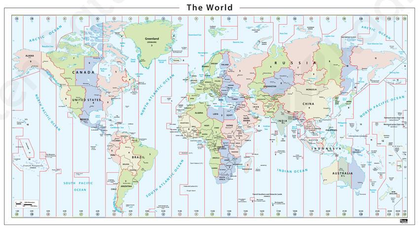wereldkaart tijdzones