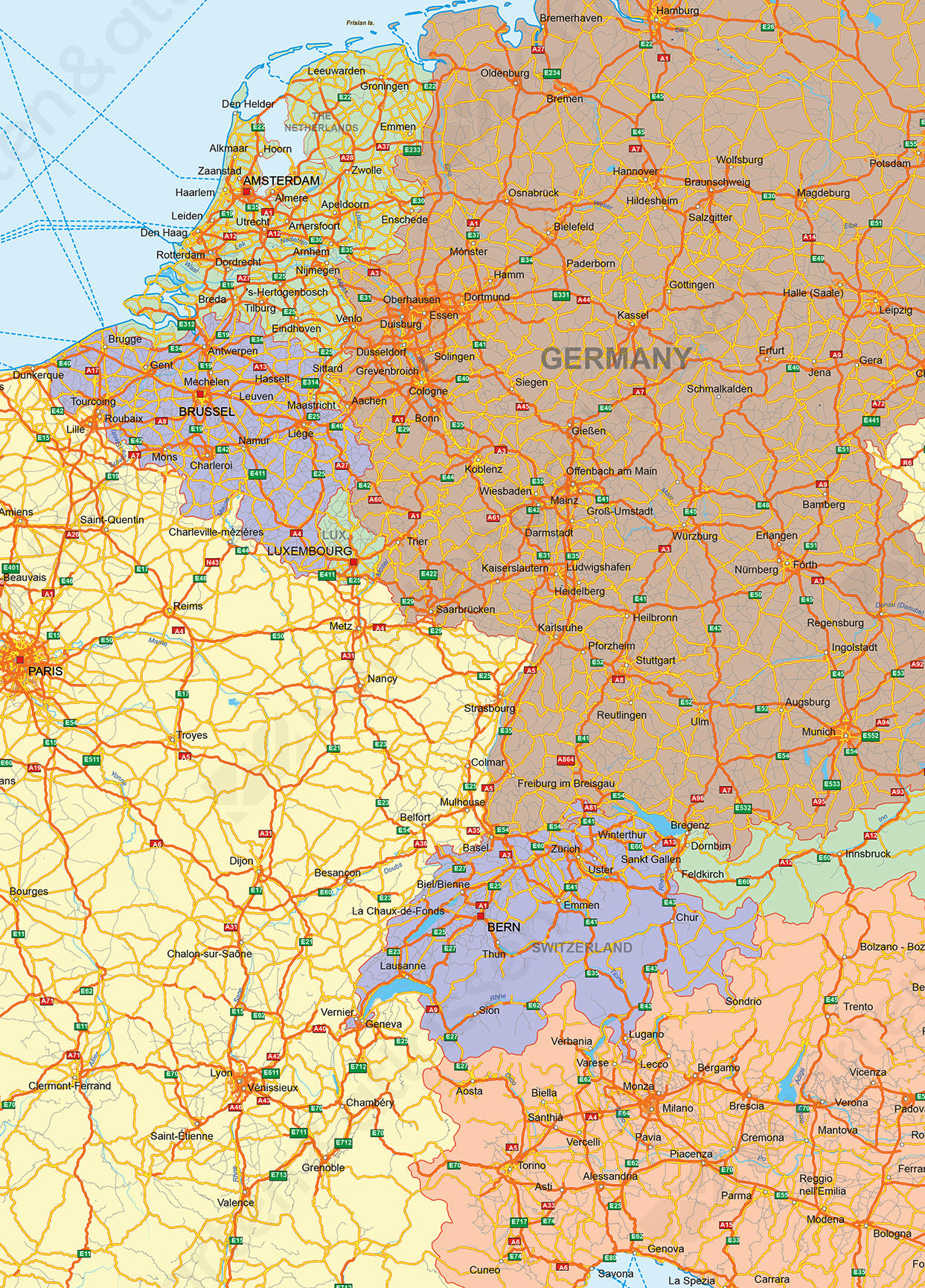 Wegenkaart van Europa