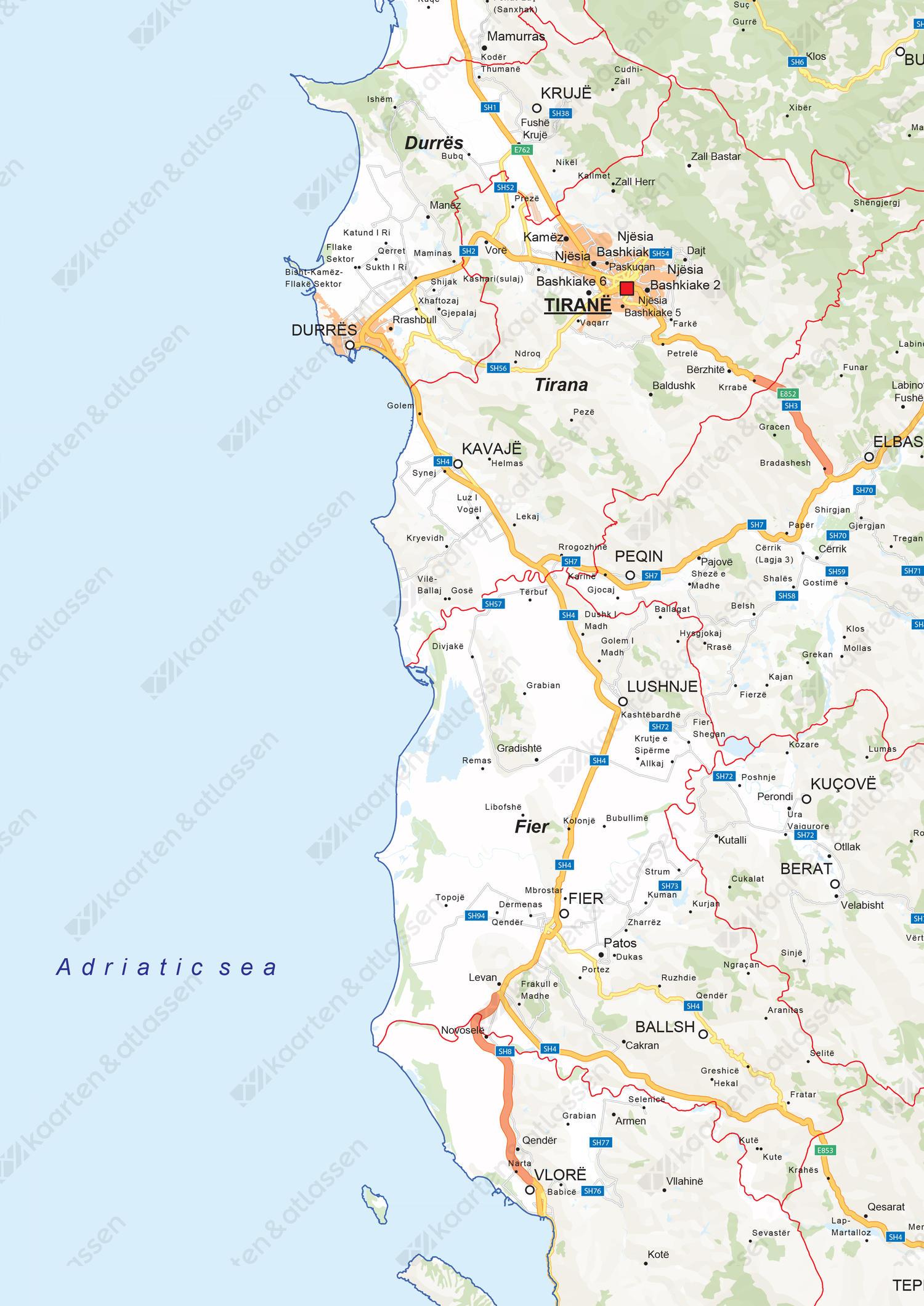 Wegenkaart Albanië