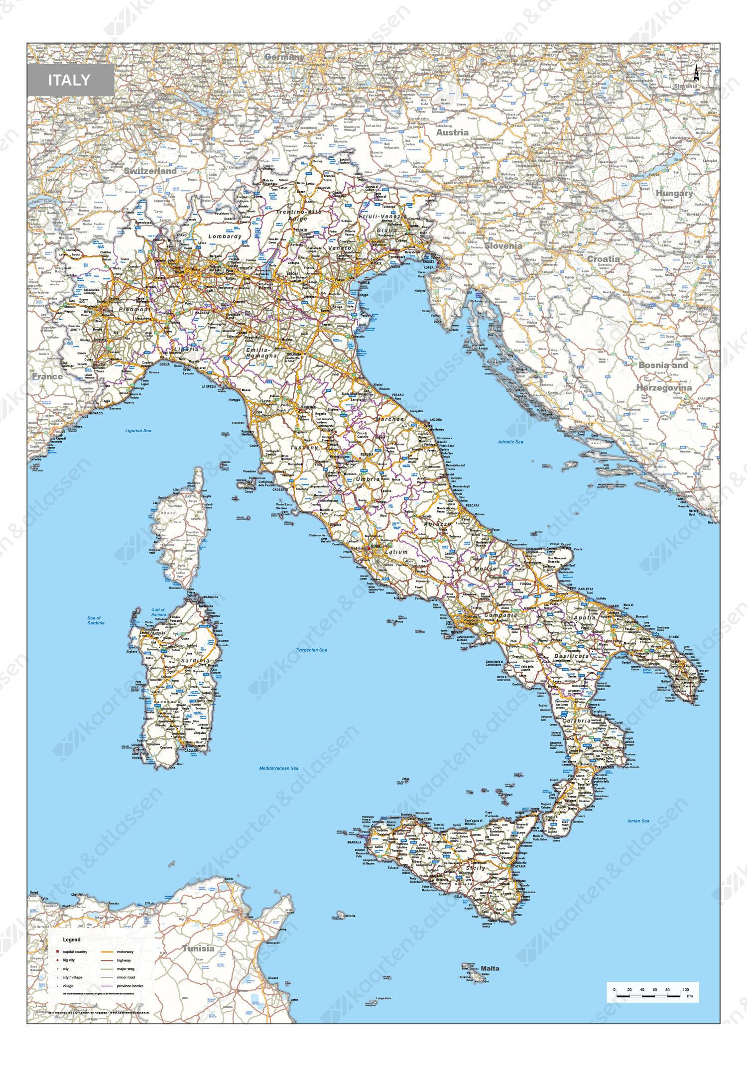 Wegenkaart Italië