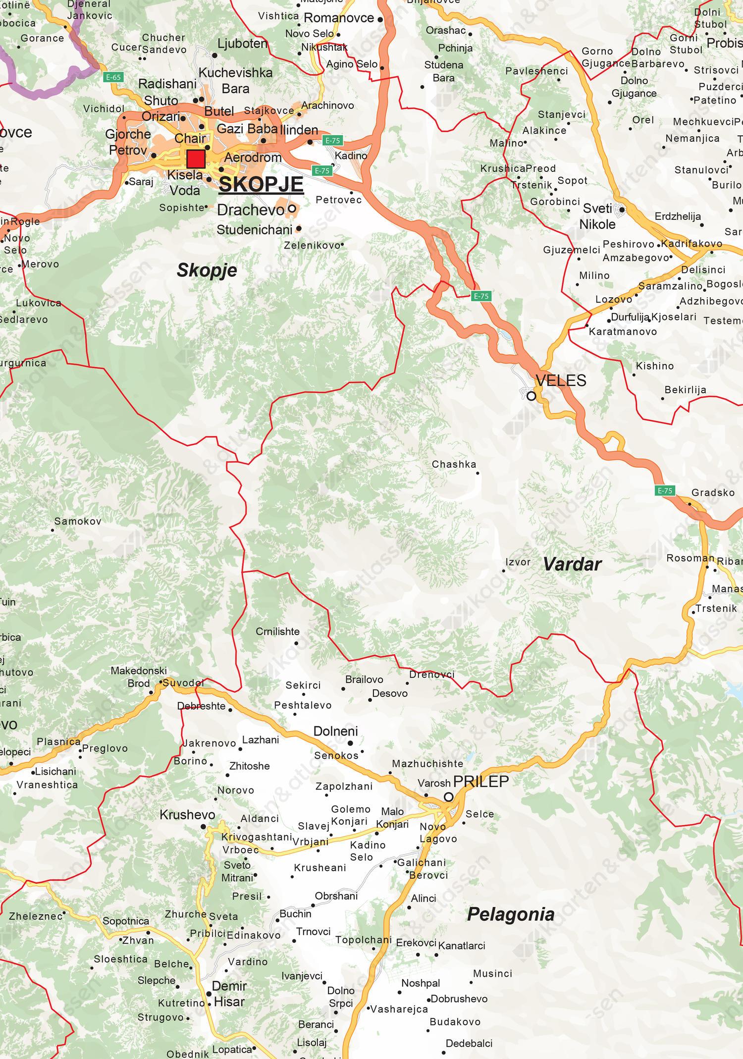 Wegenkaart Macedonië