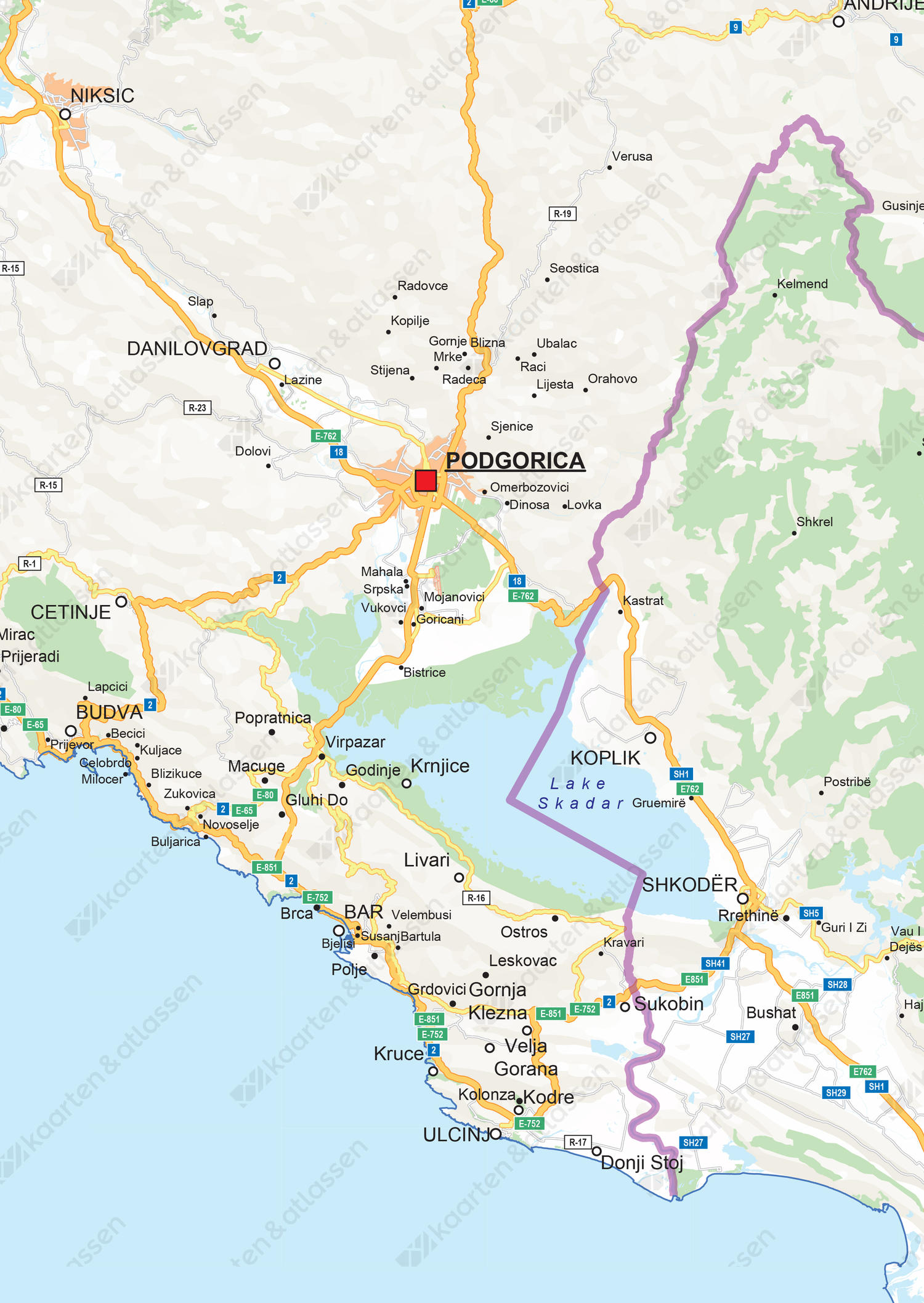 Wegenkaart Montenegro