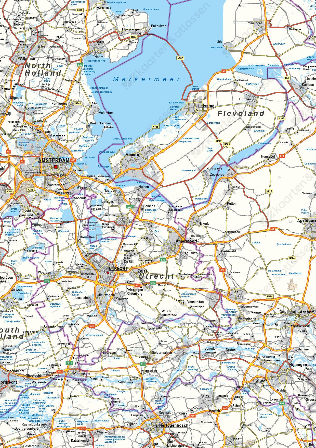 Wegenkaart Nederland