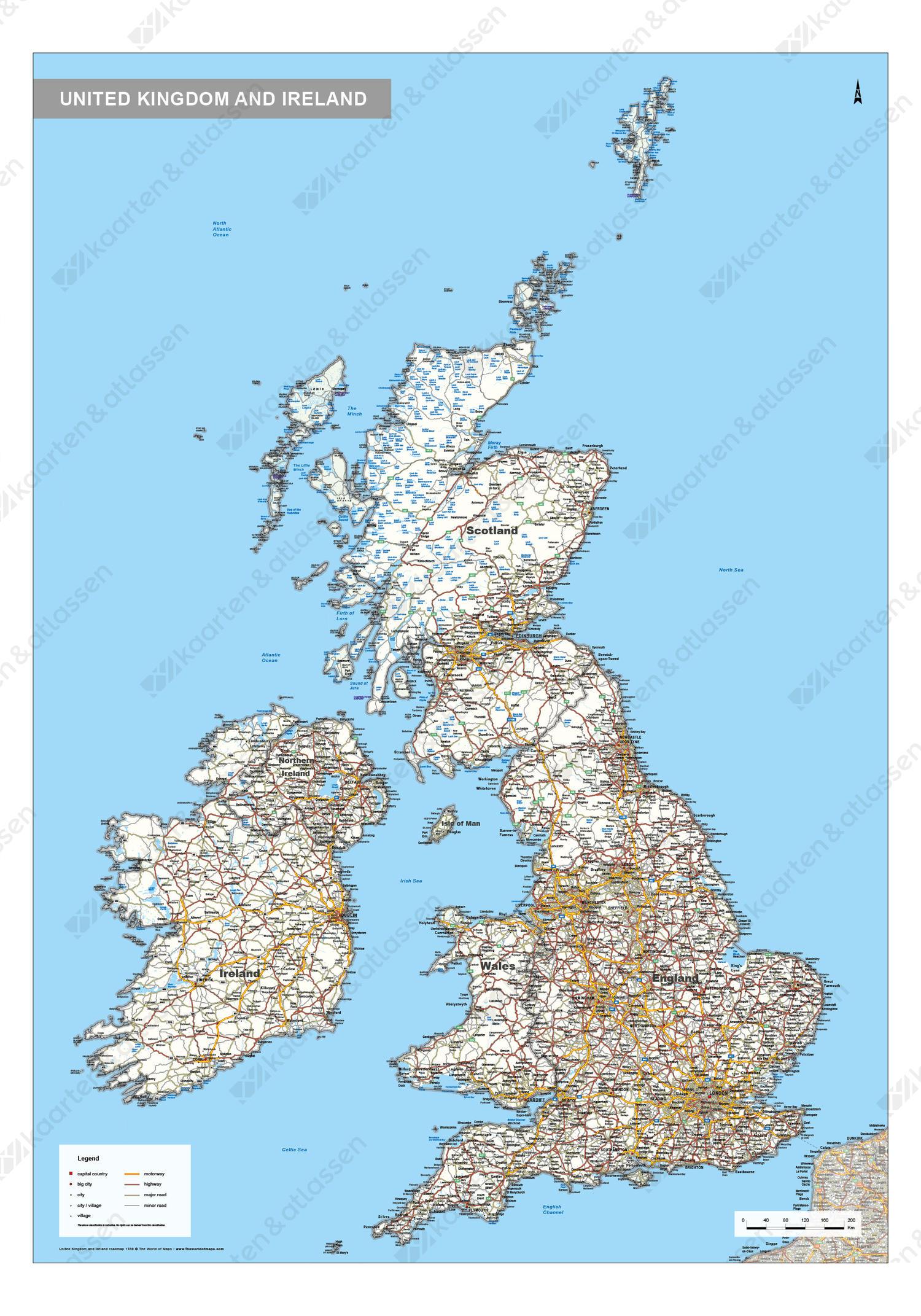 Wegenkaart Verenigd Koninkrijk en Ierland
