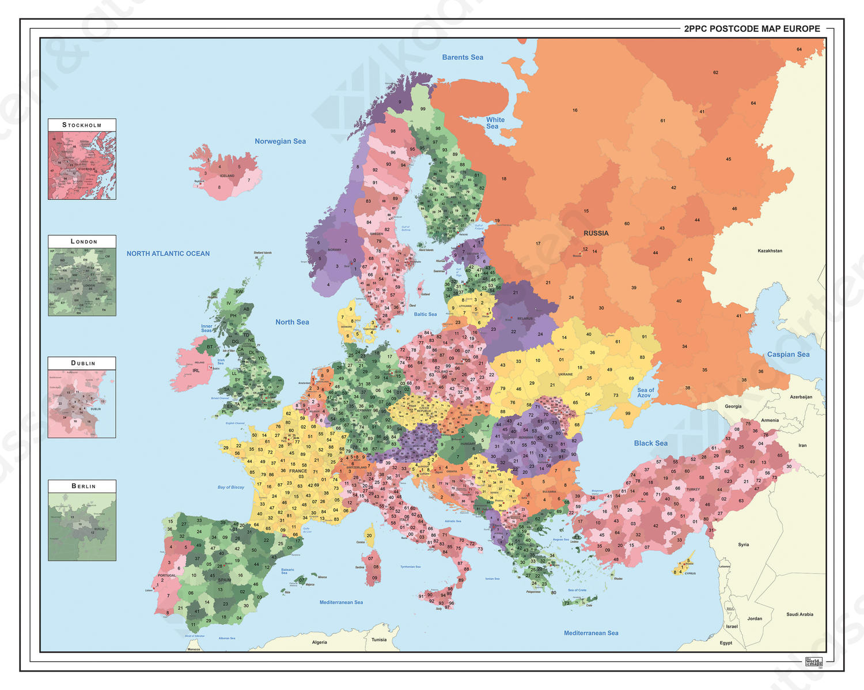 Digitale Postcodekaart van Europa 1381