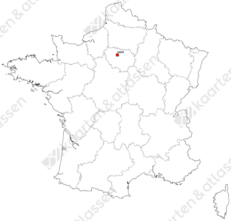 Gratis digitale kaart Frankrijk