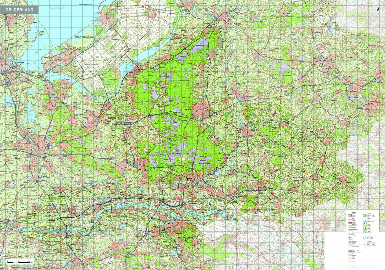 Topografische kaart Gelderland 1:100.000
