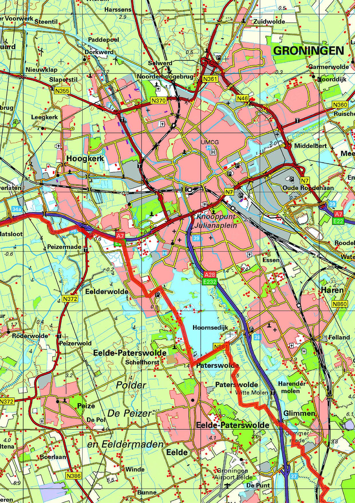 Topografische kaart Groningen 1:100.000