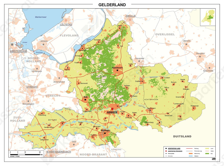 Kaart Gelderland