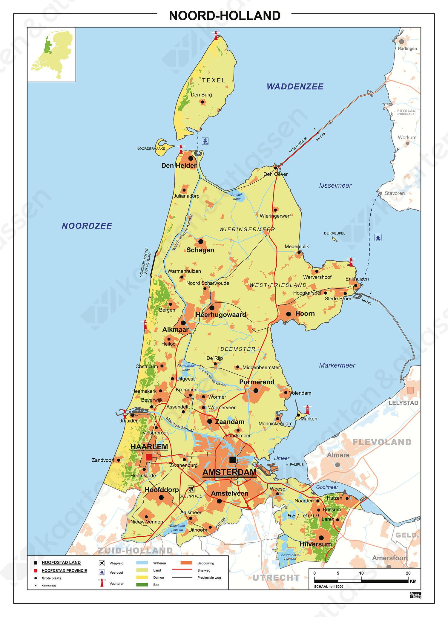 Kaart Noord-Holland