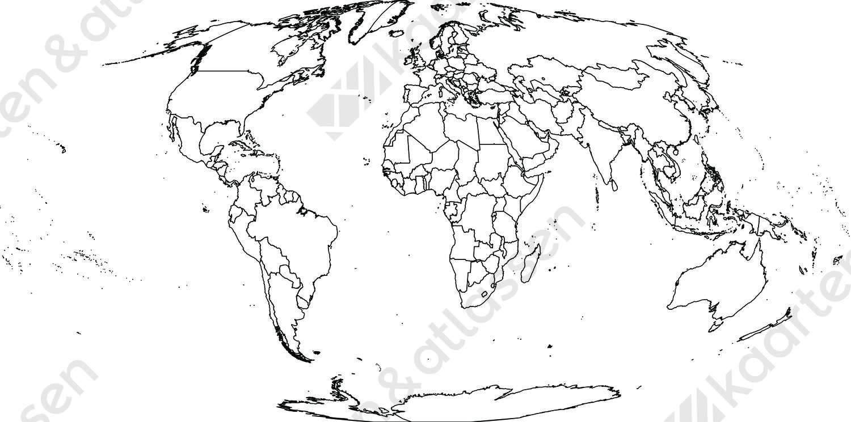 Digitale wereldkaart Mollweide projectie (gratis)