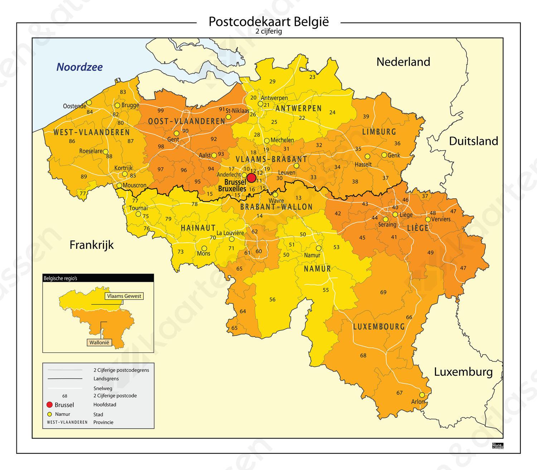 2 Cijferige Postcodekaart Belgie 646 Kaarten En Atlassen Nl