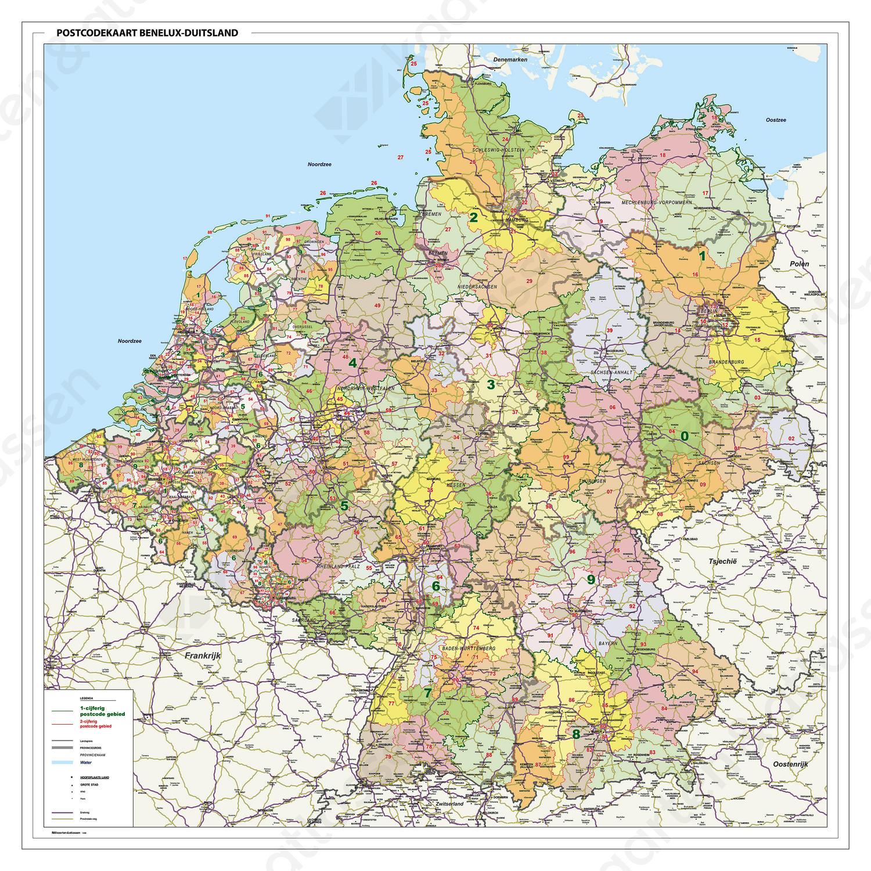 Digitale Postcodekaart Benelux + Duitsland 1- en 2-cijferig met wegen