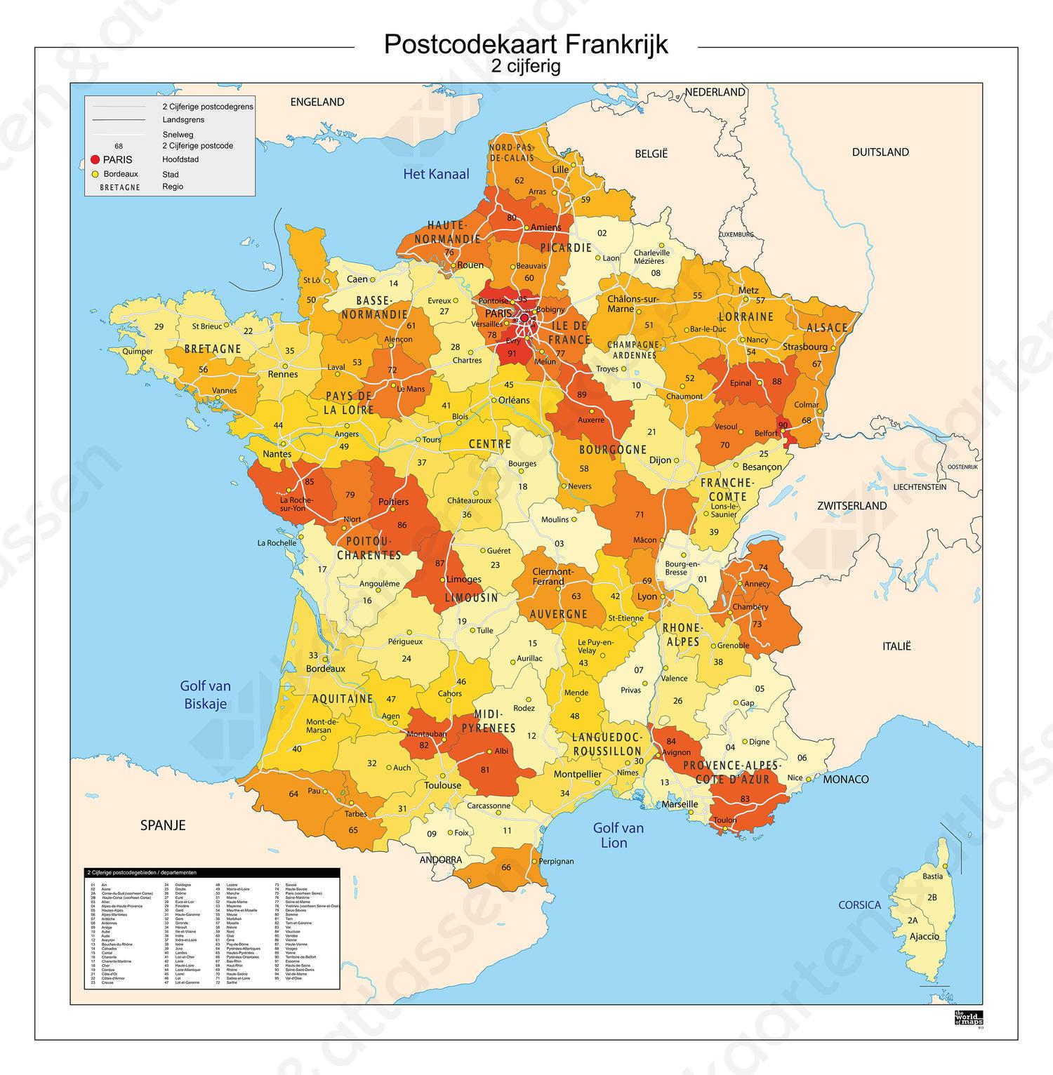Digitale 2 Cijferige Postcodekaart Frankrijk 813 Kaarten En