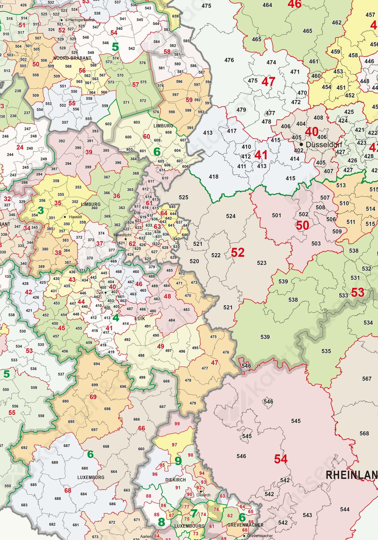 Postcodekaart Benelux + D'land 1,2 en 3 cijferig