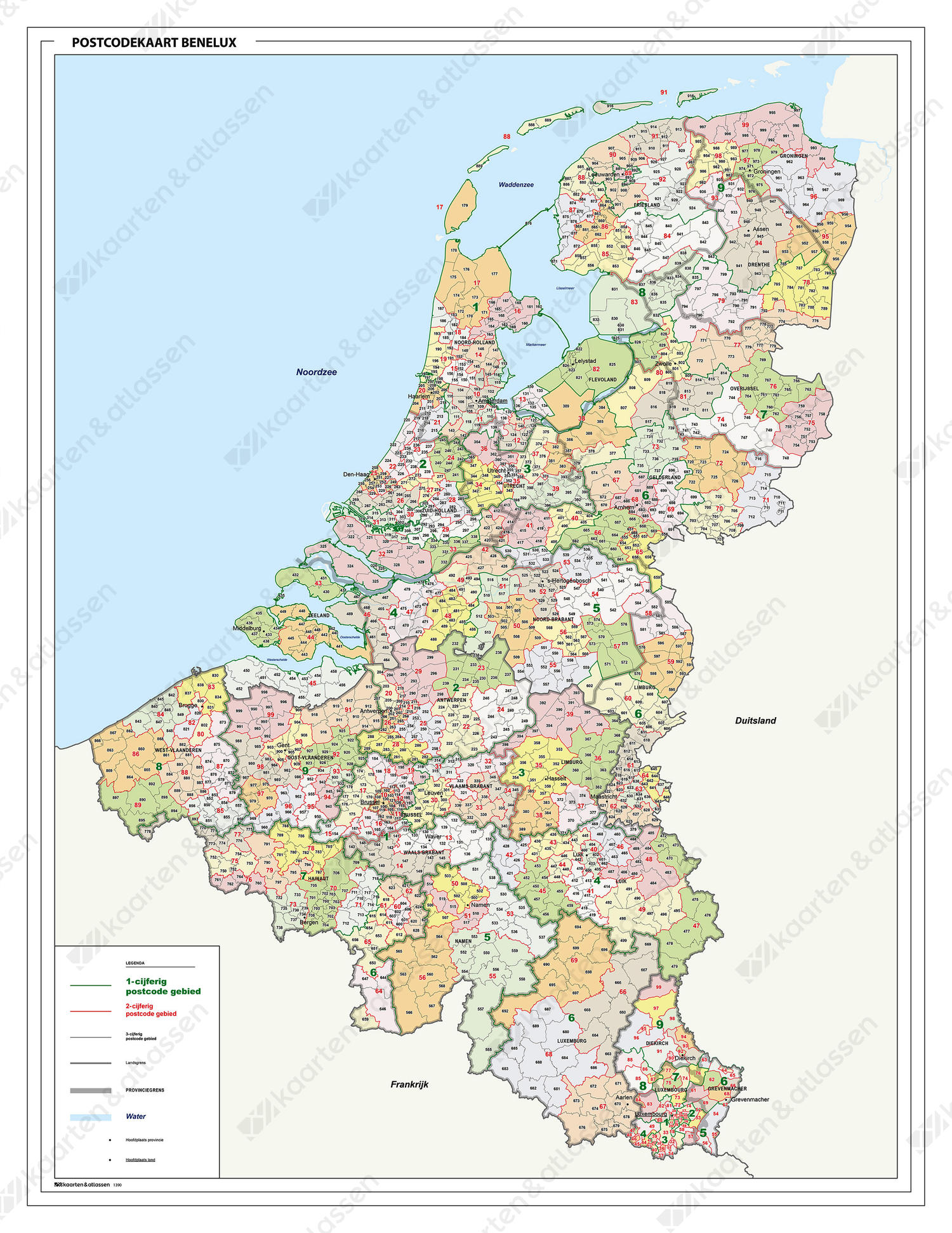 Postcodekaart Benelux 1-2-3 cijferig 1390