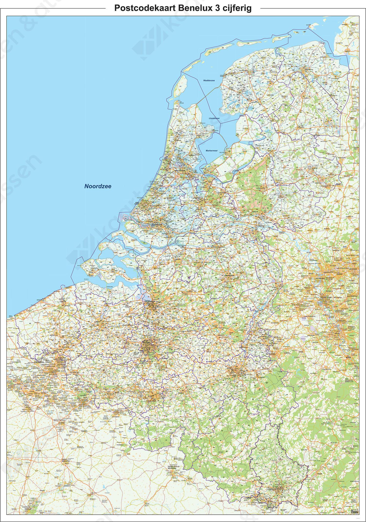 Digitale Postcodekaart Benelux