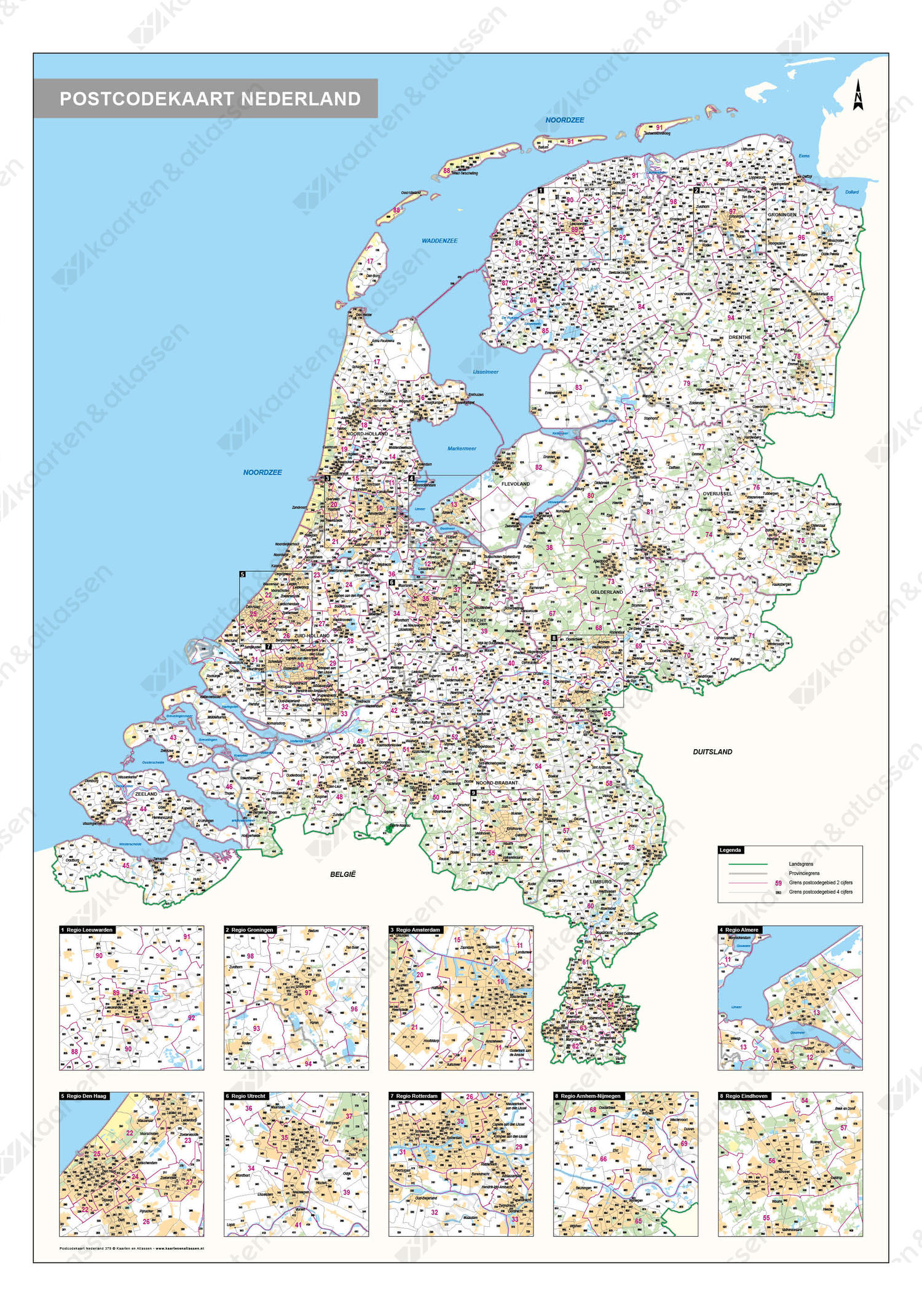 Digitale 2- en 4-cijferige Postcodekaart Nederland