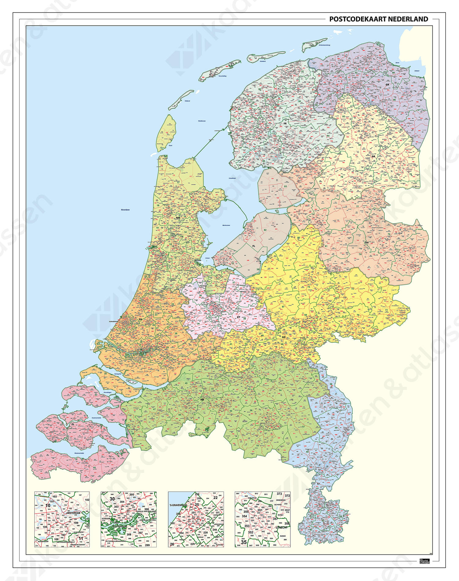 Postcodekaart Nederland 2-3-4- cijferig 1394