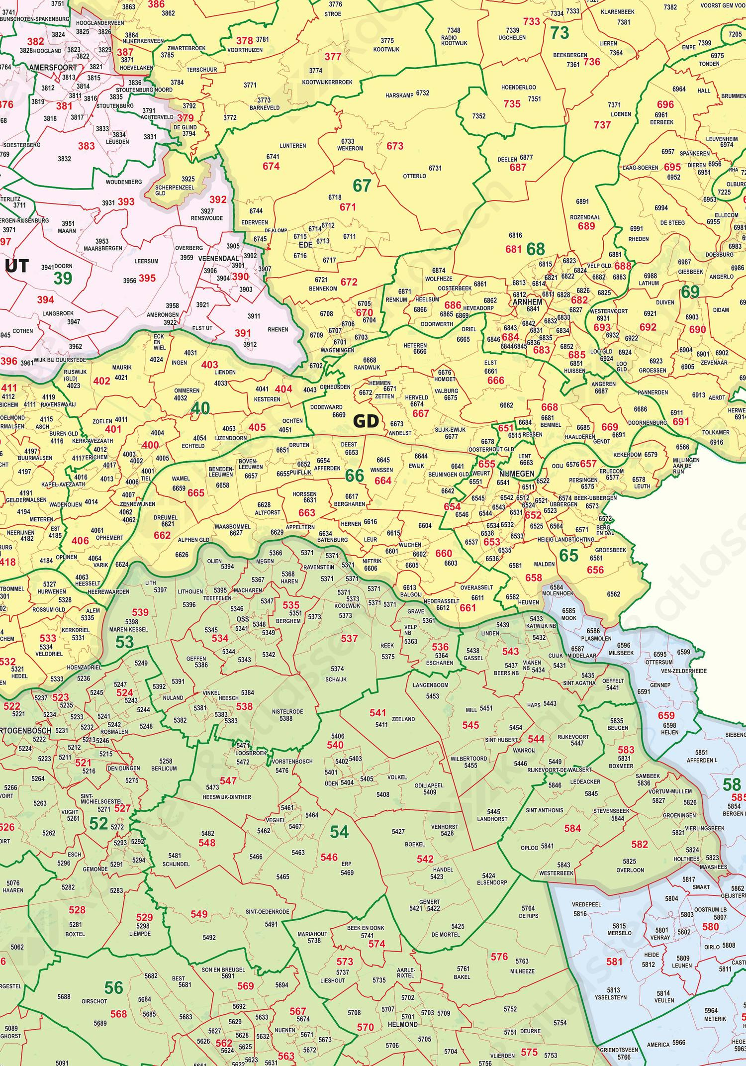 Digitale Postcodekaart Nederland 2-3-4 cijferig 1394 1394