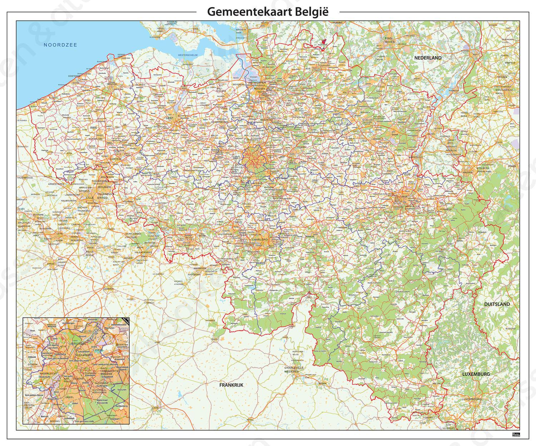 Digitale Gemeentekaart België Gedetailleerd