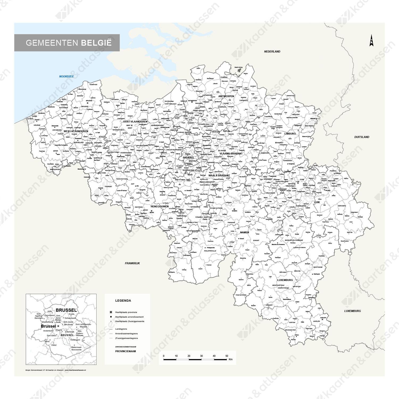Whiteboard Gemeentekaart België Eenvoudig