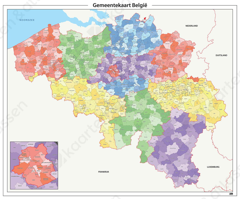 Digitale Gemeentekaart België Gekleurd 372