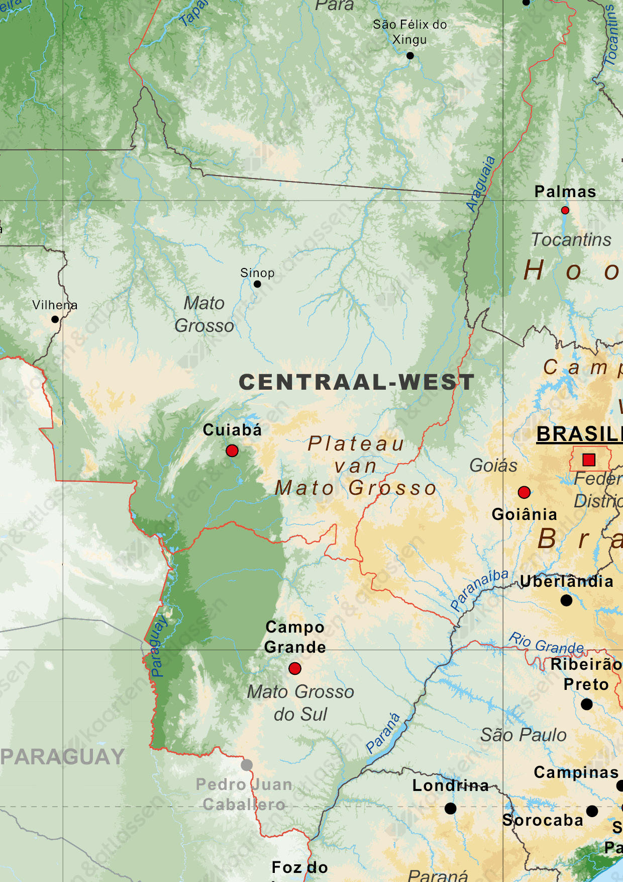 Natuurkundige kaart Brazilië