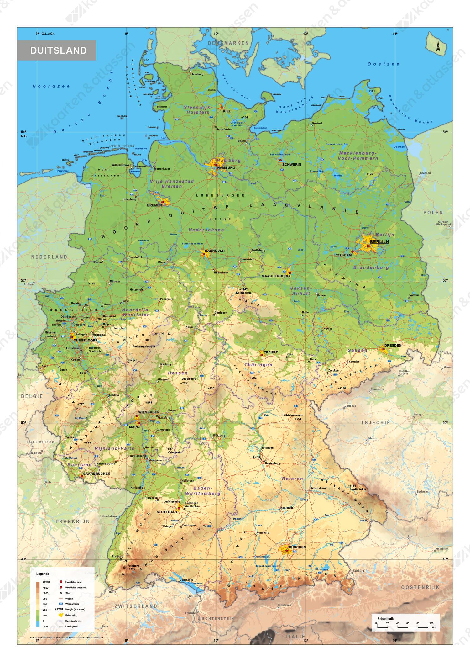 Duitsland Schoolkaart Natuurkundig