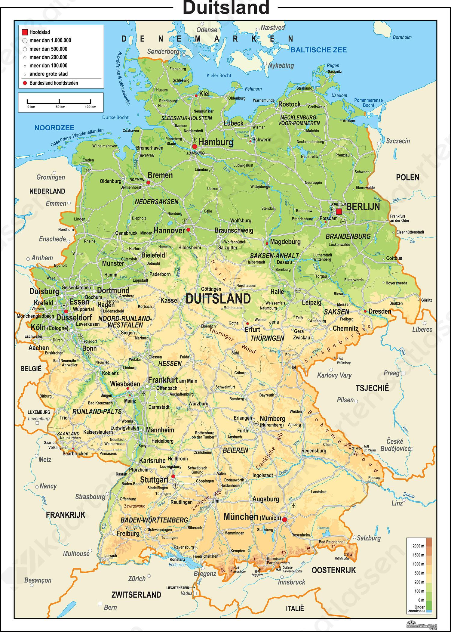 Duitsland Kaart Natuurkundig 777 Kaarten En Atlassen Nl