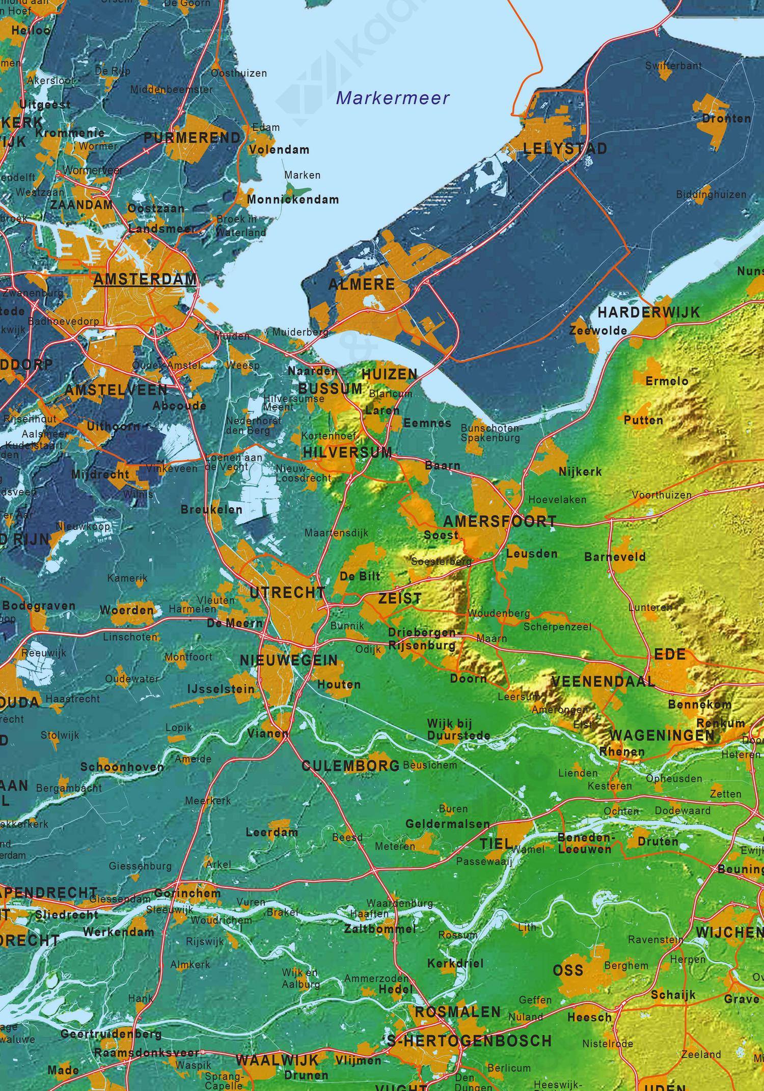 Kaart van Nederland met de hoogtes ten opzichte van het zeeniveau