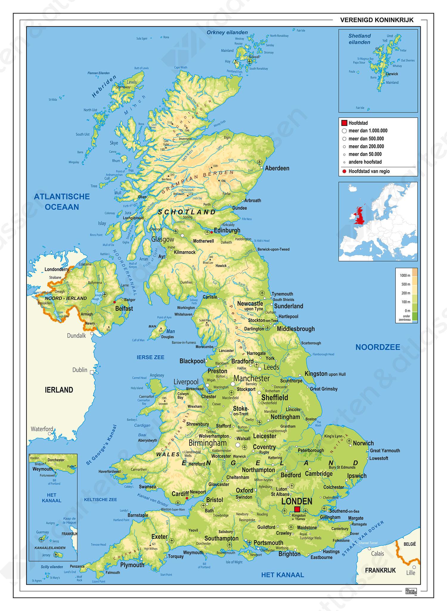 Verenigd Koninkrijk Kaart Natuurkundig