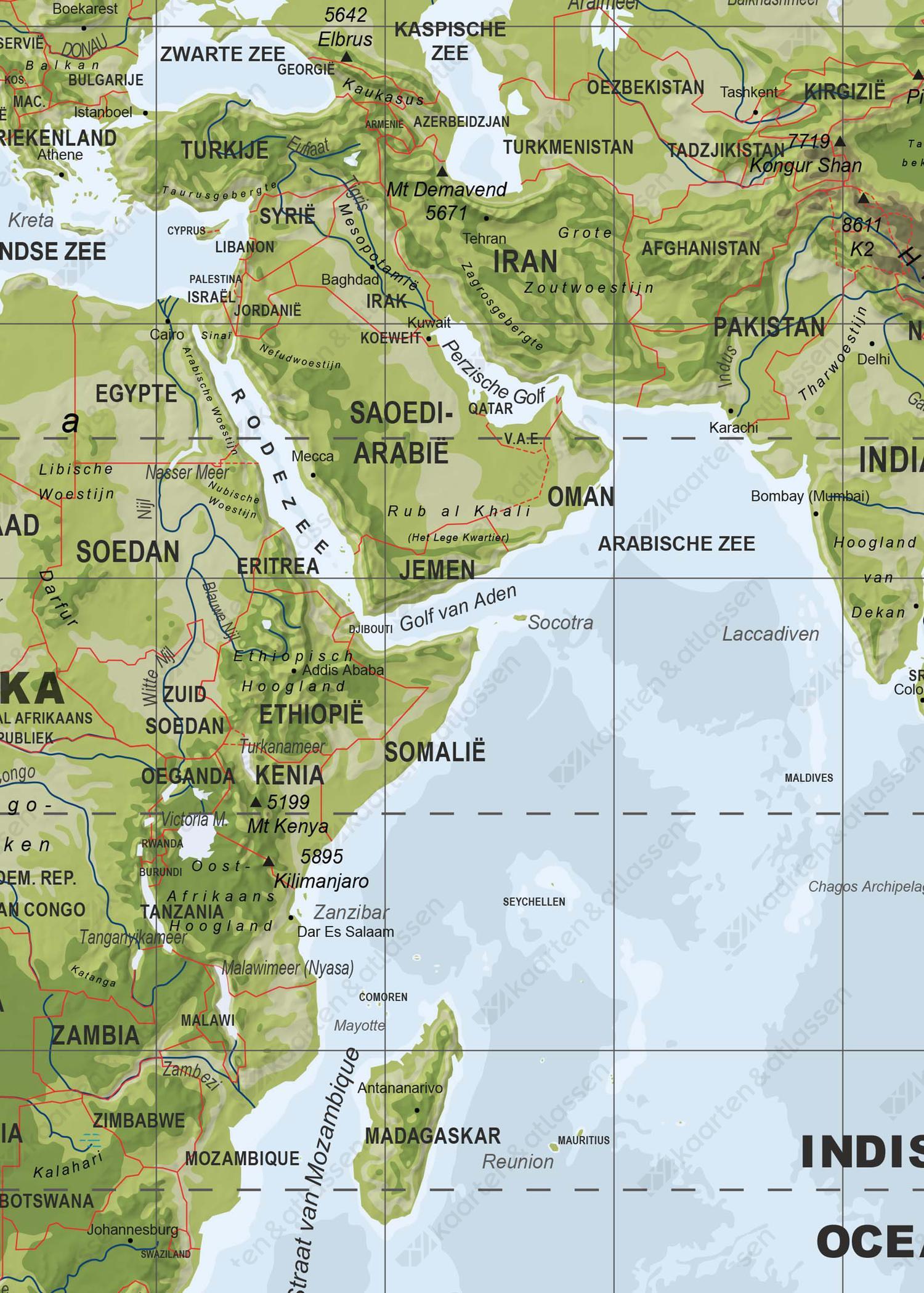 Natuurkundige Wereldkaart
