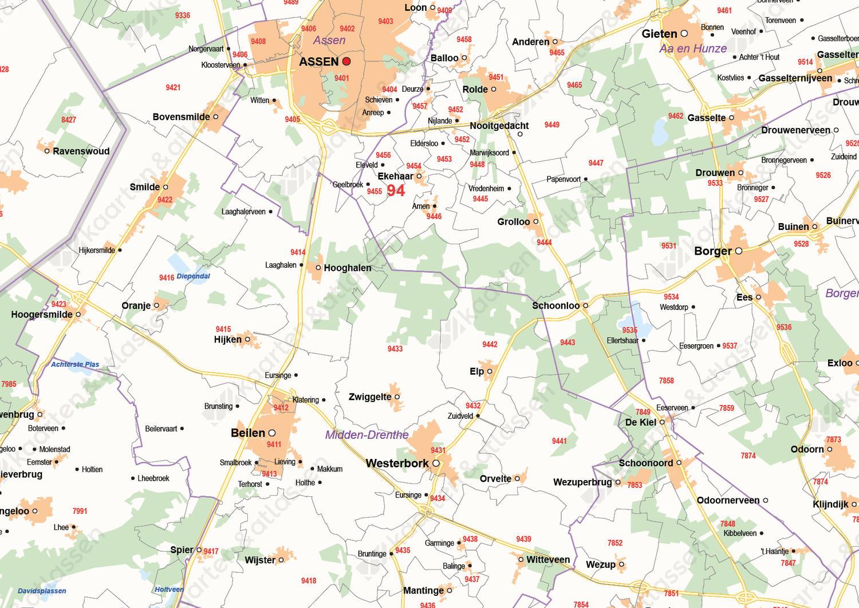 Digitale Postcode-/Gemeentekaart Drenthe