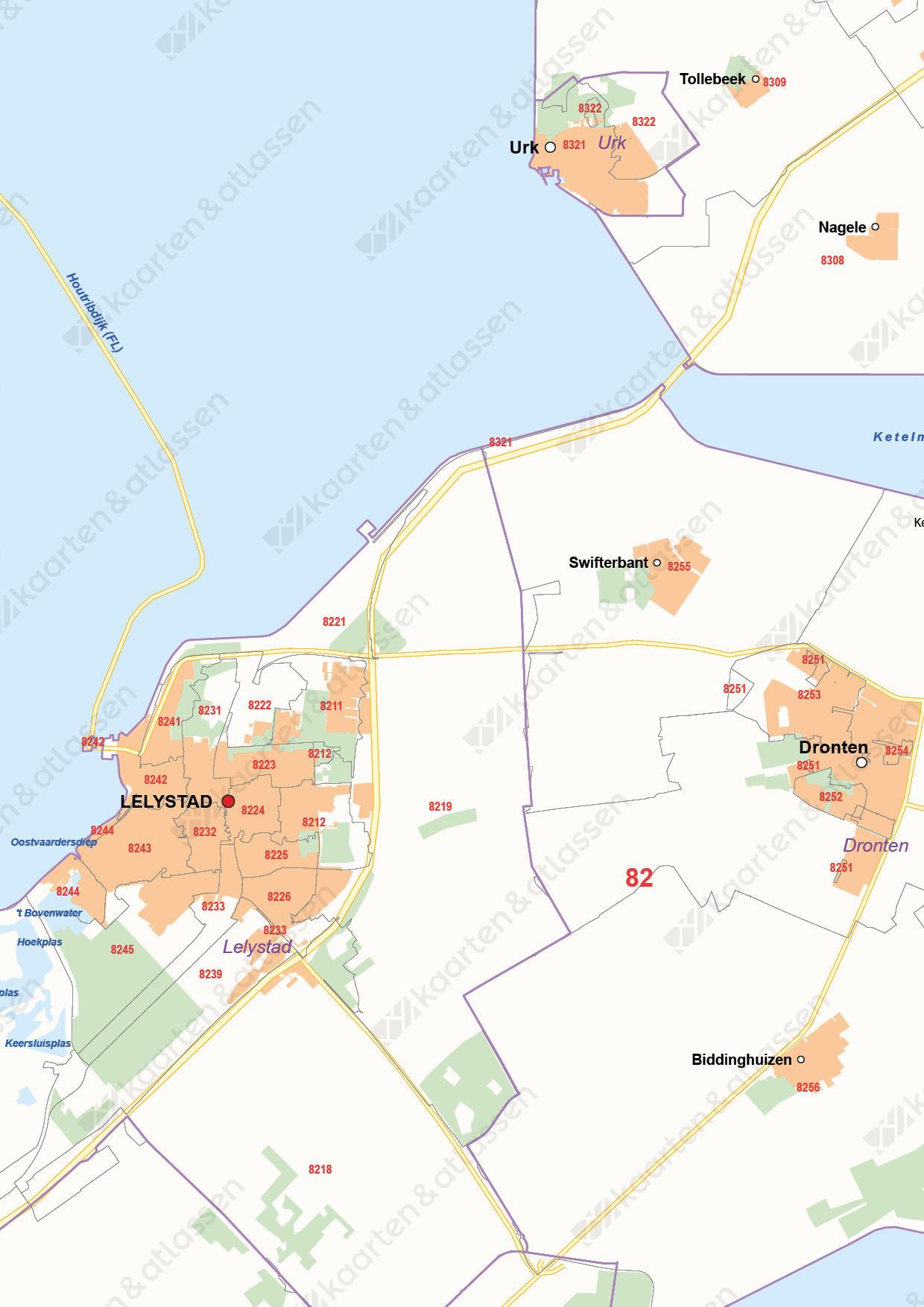Postcode-/Gemeentekaart Flevoland
