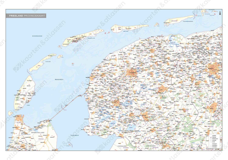 Digitale Postcode-/Gemeentekaart Friesland