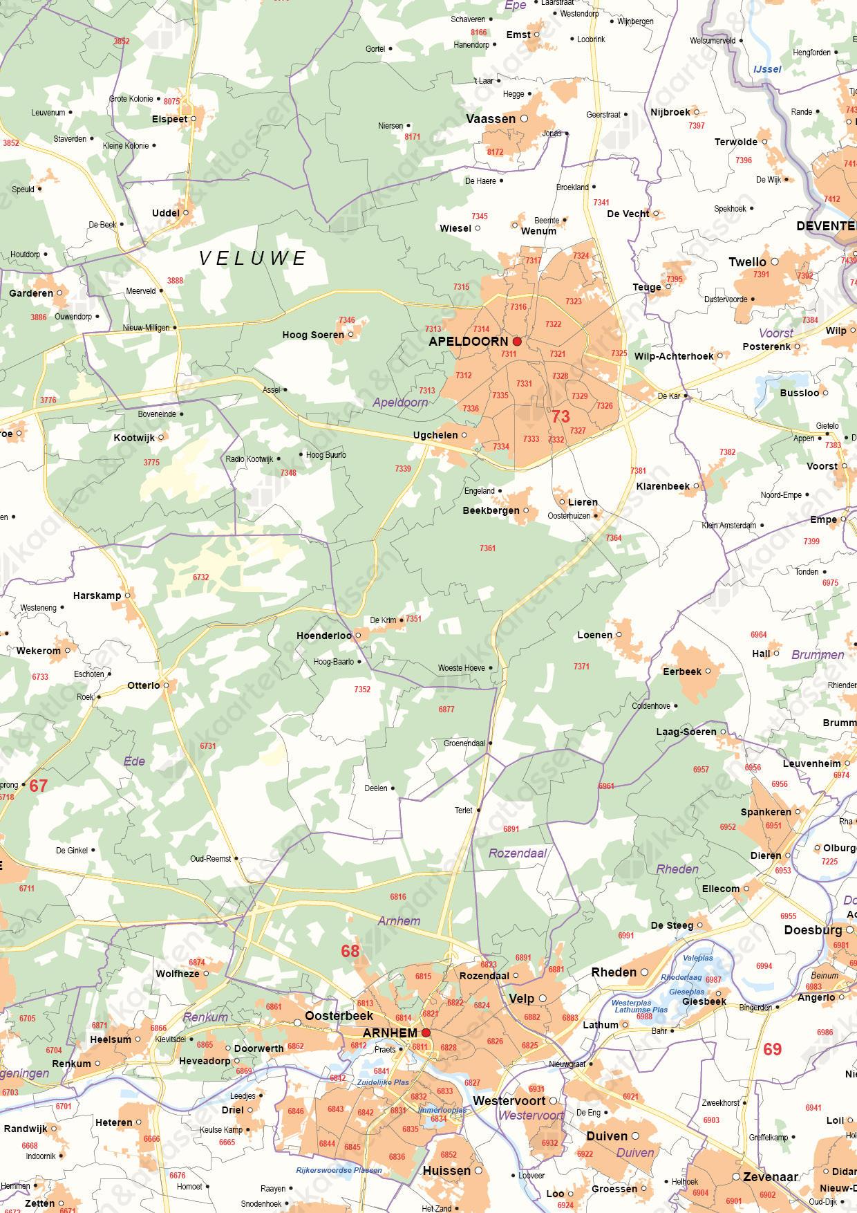 Digitale Postcode-/Gemeentekaart Gelderland