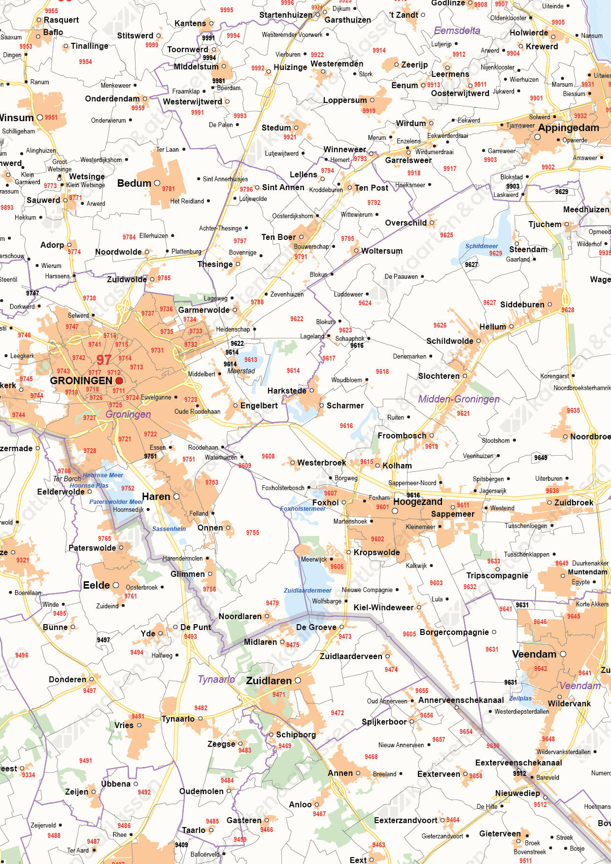 Postcode-/Gemeentekaart Groningen