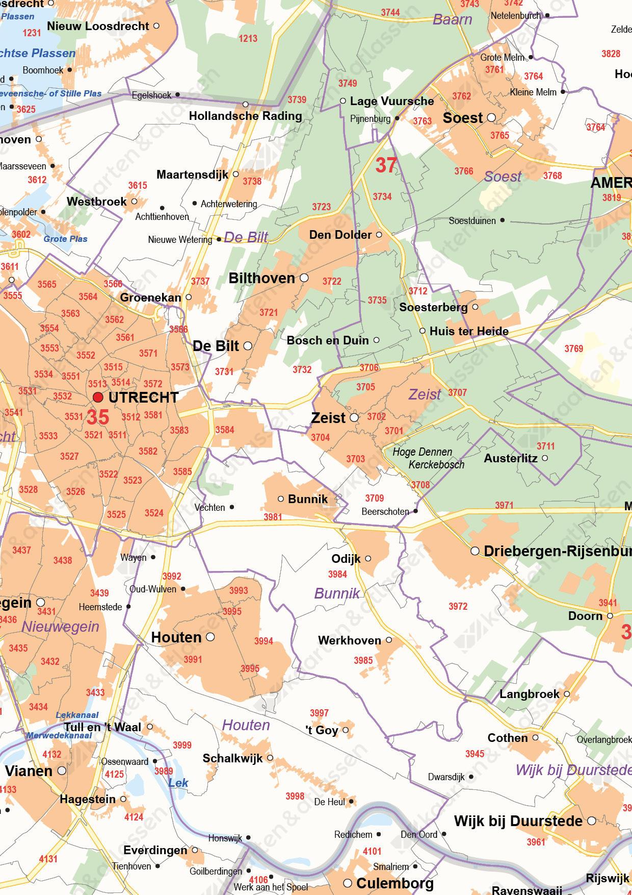 Digitale Postcode-/Gemeentekaart Utrecht