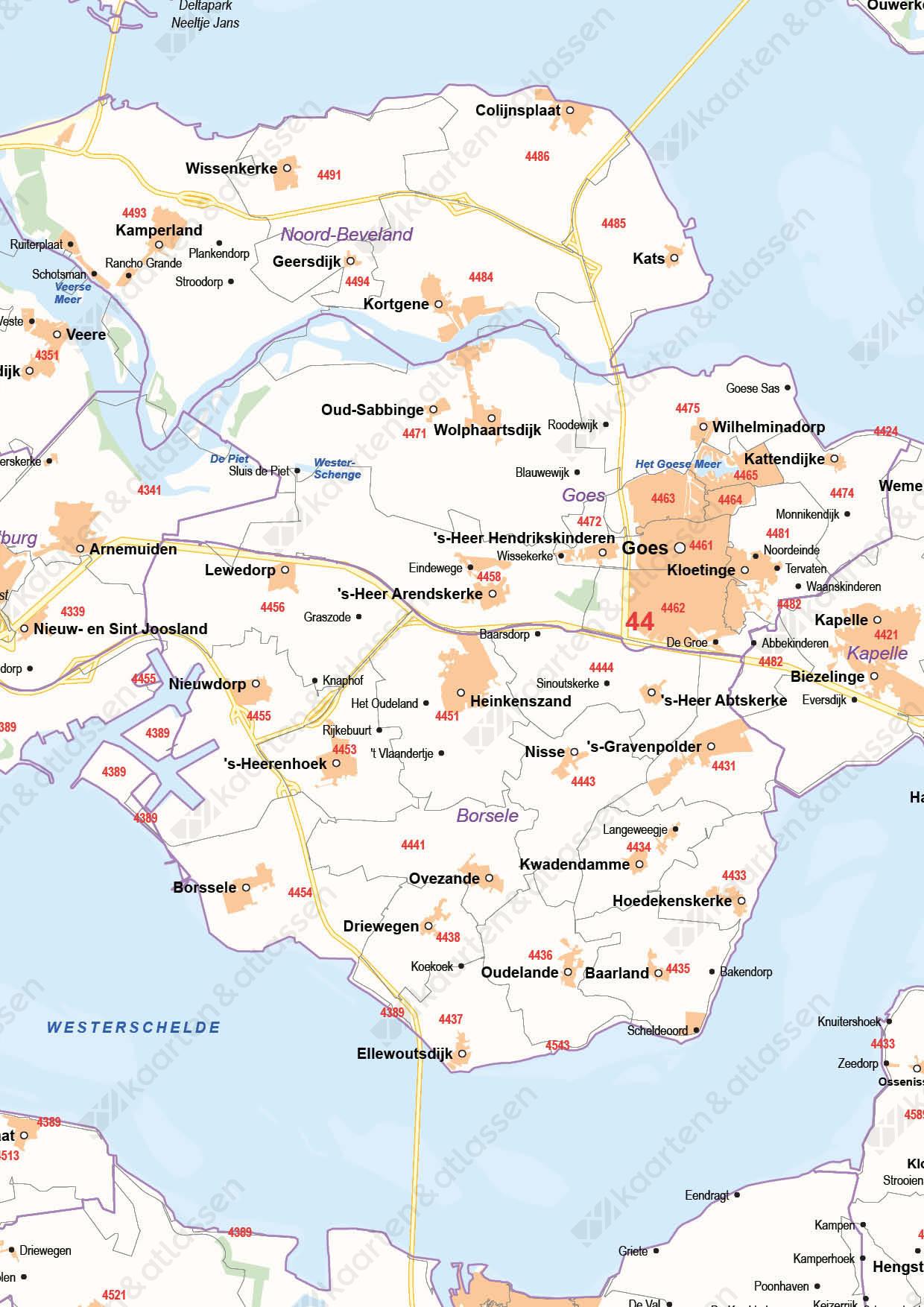 Postcode-/Gemeentekaart Zeeland