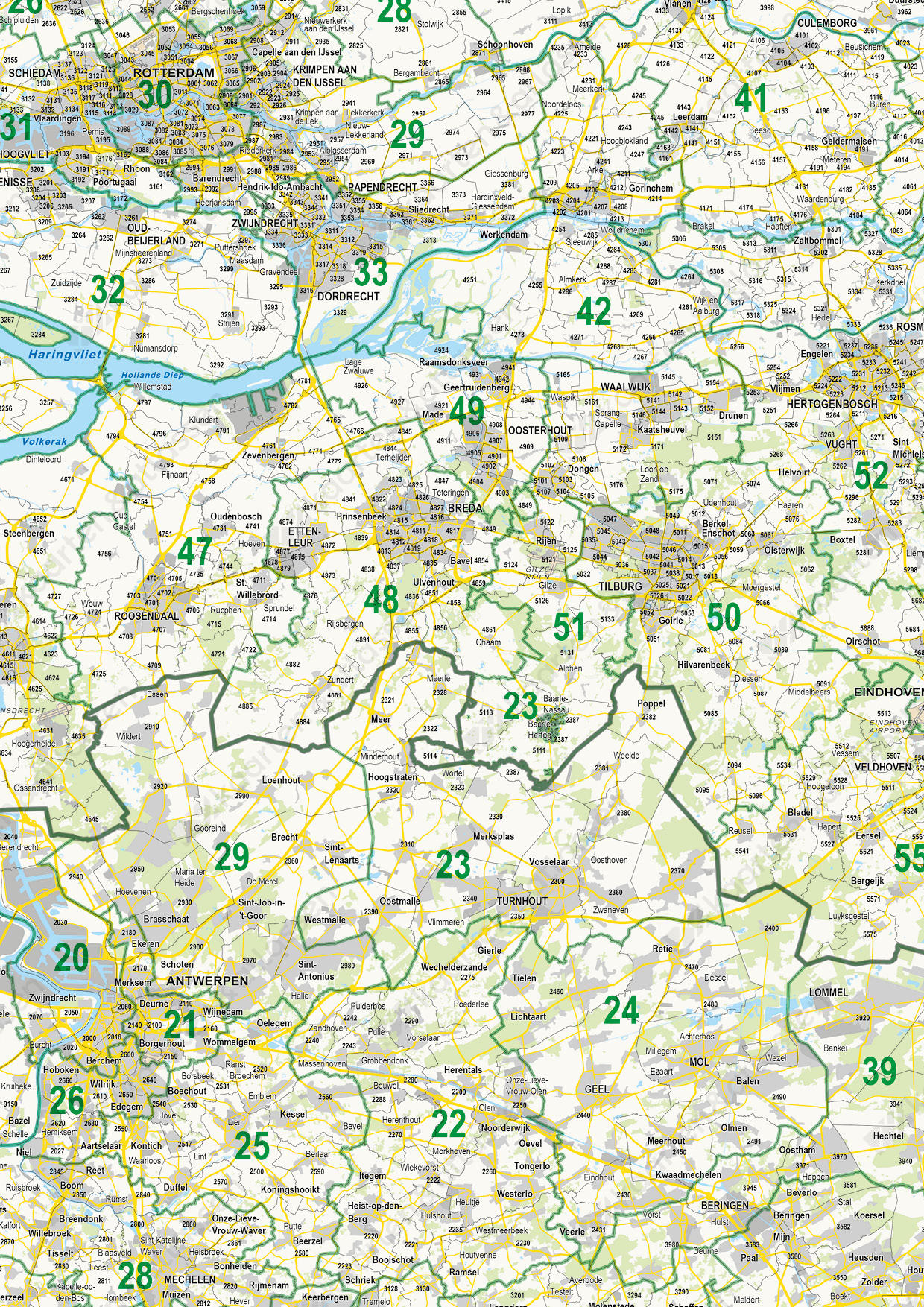 Digitale Postcodekaart Benelux 2- en 4-cijferig
