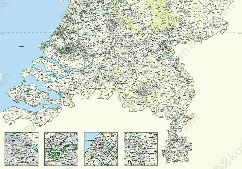 Postcodekaart Nederland - achterkant