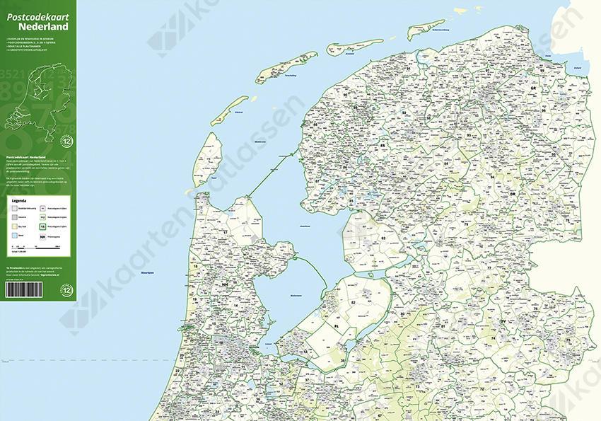 Postcodekaart Nederland - voorkant