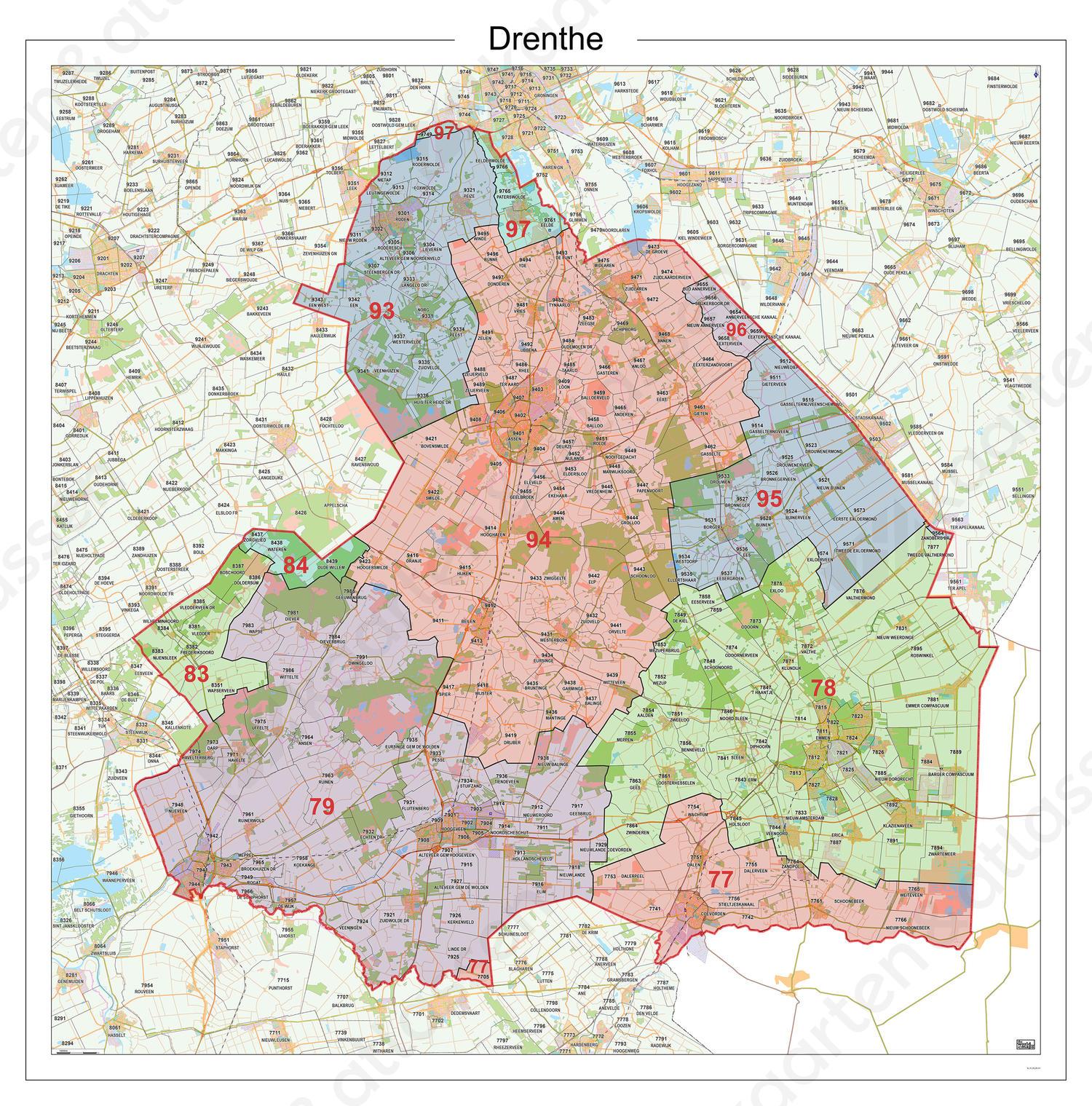 Digitale Postcodekaart Provincie Drenthe